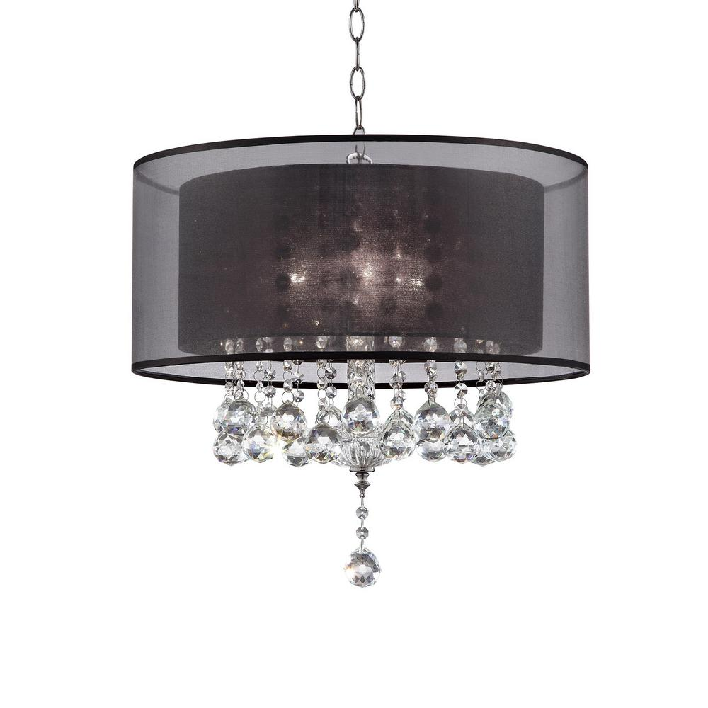 Effleurer 3 Bulb Clear Crystal Chandelier With Black Shade Chrome