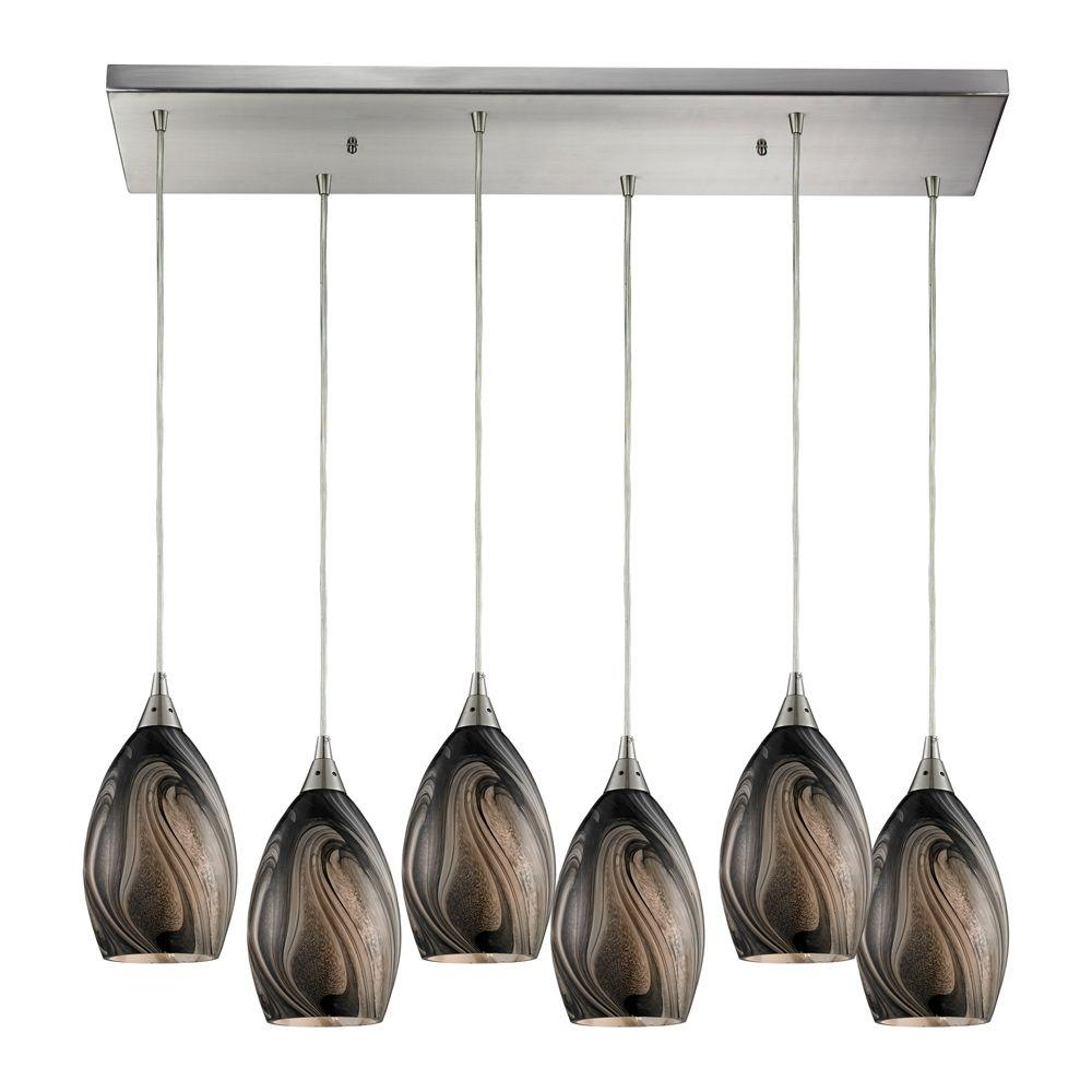 Titan Lighting Formations 6-Light Satin Nickel Ceiling Mount Pendant