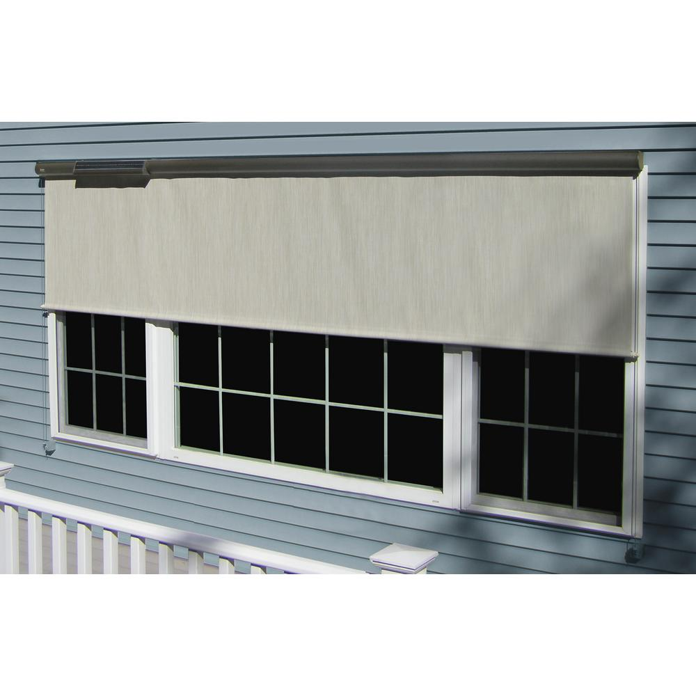 Coolaroo sesame exterior roller shade 120 in w x 72 in - Exterior solar screens home depot ...