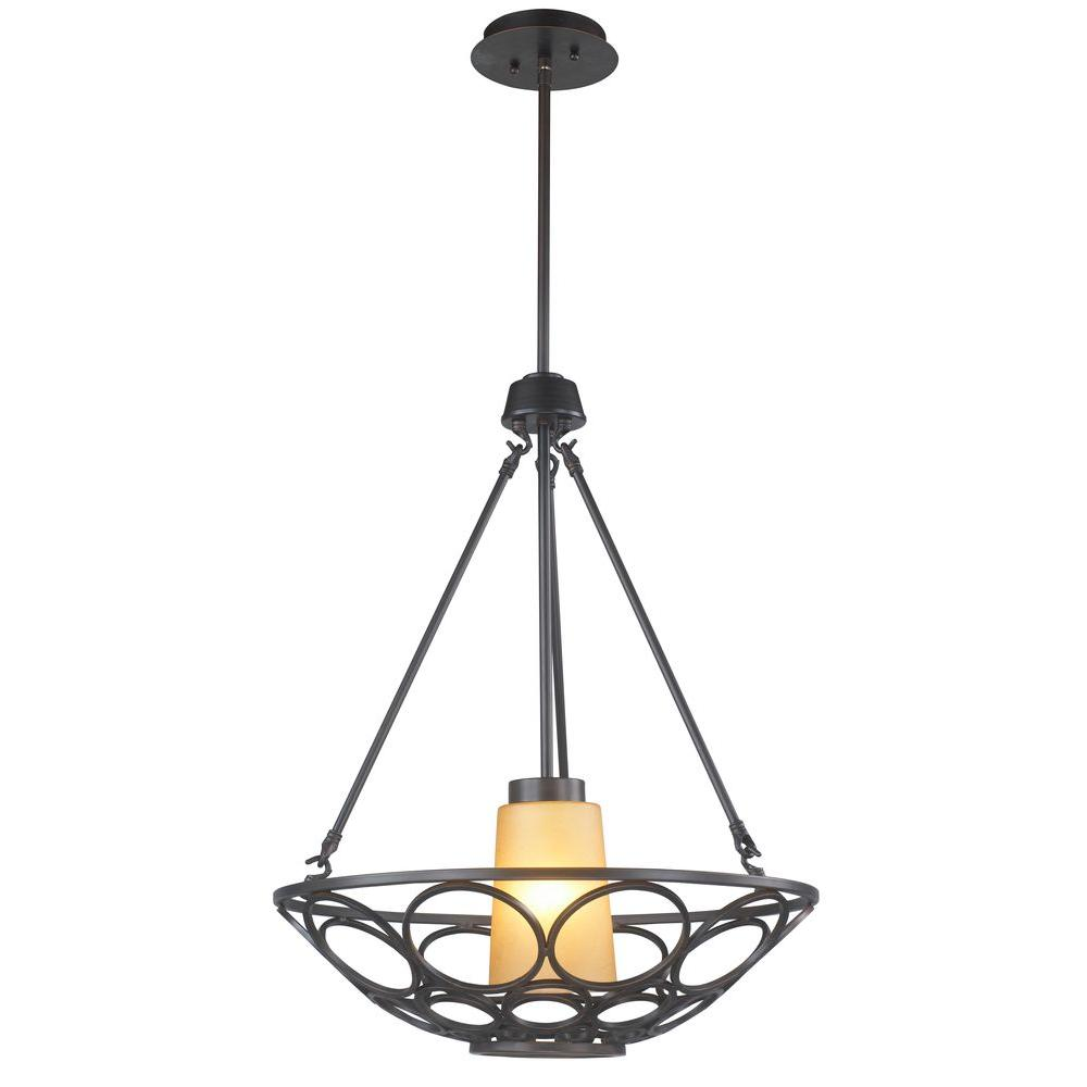 1-Light Oil-Rubbed Bronze Pendant with Frosted Amber Glass Shade