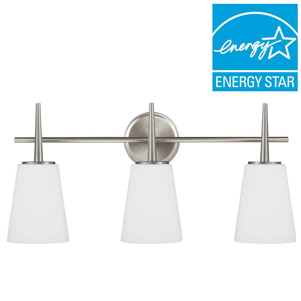 Sea Gull Lighting 44237 962 3 Light Brushed Nickel Bathroom Vanity Wall Fixture: Sea Gull Lighting Driscoll 3-Light Brushed Nickel Fluorescent Wall/Bath Vanity Light With Inside