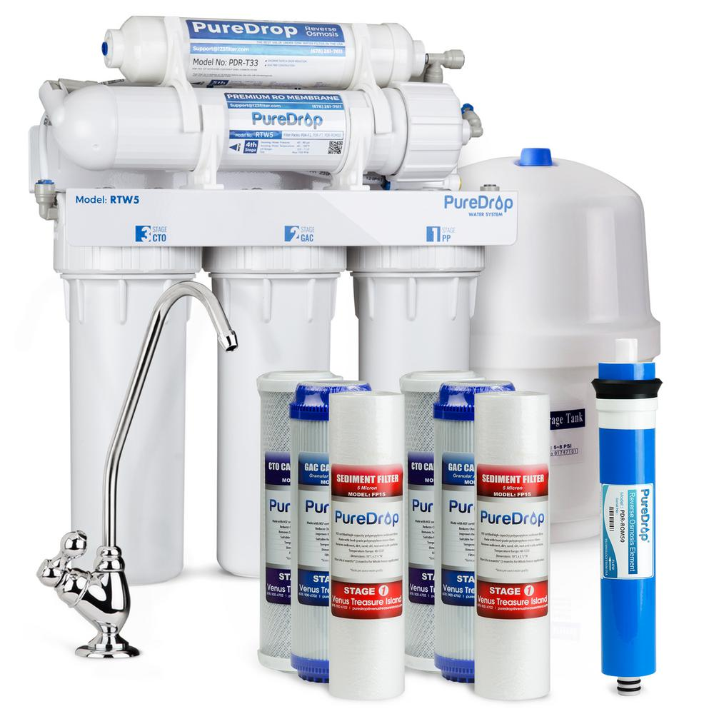 puredrop 5 stage reverse osmosis water filtration system with pre