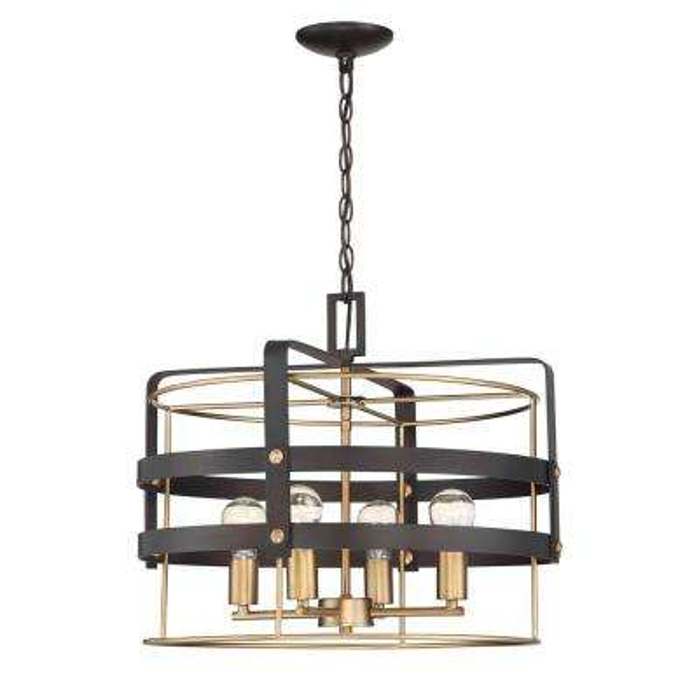 Round Open Style 4-Light Vintage Bronze Hanging Pendant