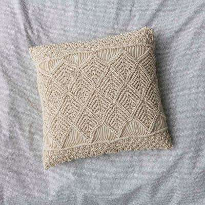 20 in. x 20 in. Natural Macrame Pillow Cover