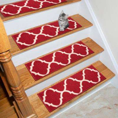Ottohome Collection Red 9 in. x 26 in. Polypropylene Stair Tread (Set of 7)