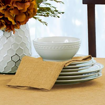 17 in. W x 17 in. L Elrene Pennington Damask Gold Fabric Napkins (Set of 4)