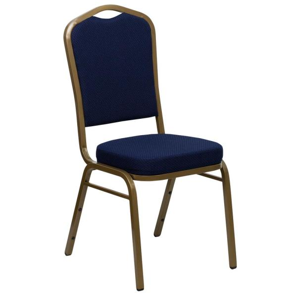 Flash Furniture Navy Blue Patterned Fabric/Gold Frame Stack Chair CGA-FD-0851-NA-HD