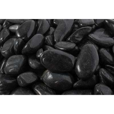 2 in. to 3 in., 20 lb. Large Black Super Polished Pebbles