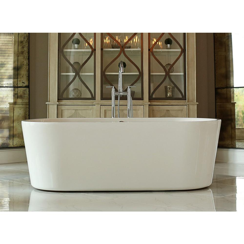 Pinnacle Relax 5.8 ft. Acrylic Oval Flatbottom Non-Whirlpool Bathtub in White