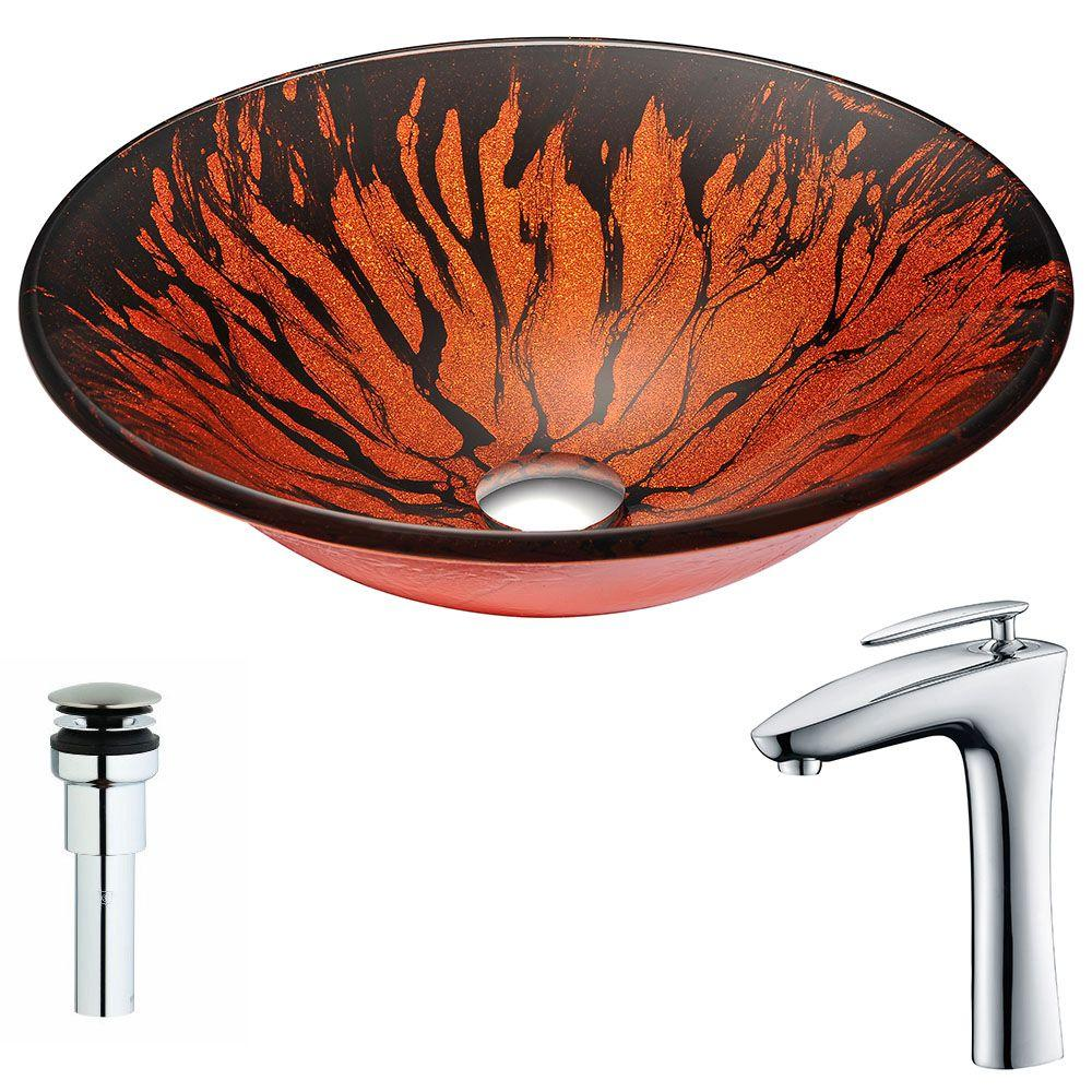 ANZZI Forte Series Deco-Glass Vessel Sink in Lustrous Red...