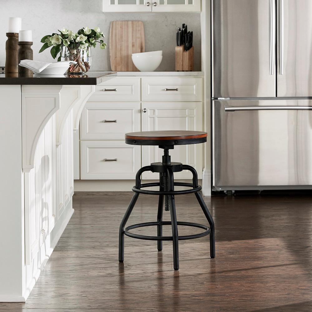 Miraculous Industrial Mansard Adjustable Height Black Bar Stool Dailytribune Chair Design For Home Dailytribuneorg
