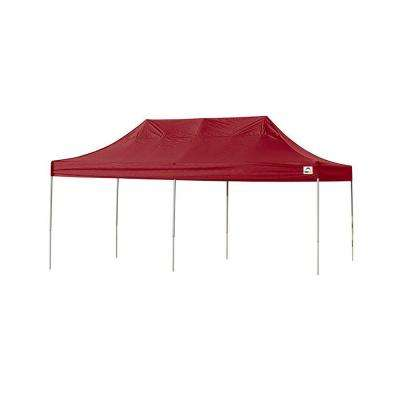 10 ft. x 20 ft. Straight Leg Pop-Up Canopy Red Cover with Black Roller Bag