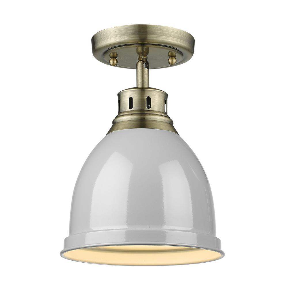 Golden Lighting Duncan Collection 1-Light Aged Brass Flush Mount with Gray Shade