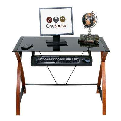 Black Glass and Wood Computer Desk with Pullout Keyboard Tray