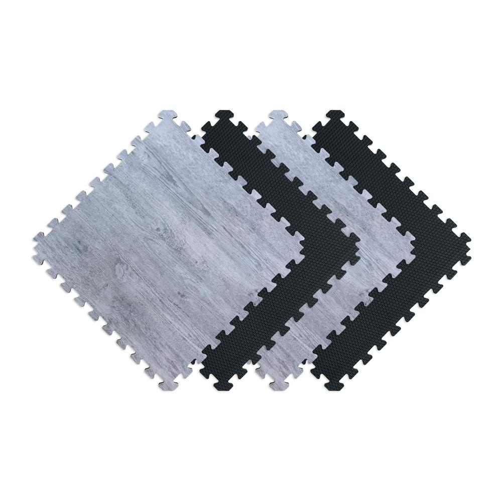 Norsk Reversible Stone Gray/Black Faux Wood 24 In. X 24 In