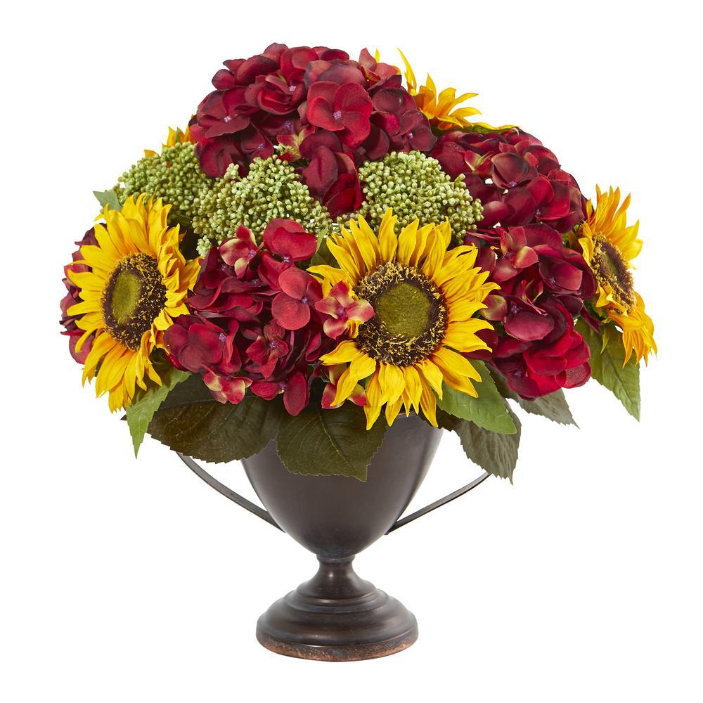 16 in. Sunflower and Hydrangea Artificial Arrangement