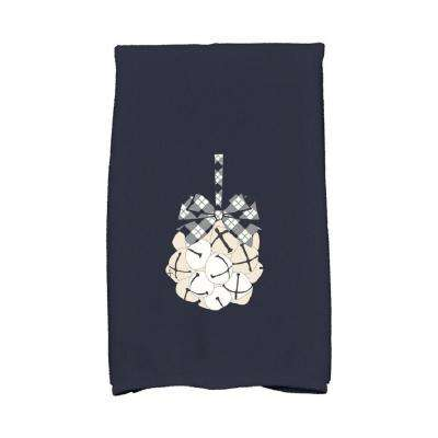 16 in. x 25 in. Navy Blue Jingle Bells Holiday Geometric Print Kitchen Towel