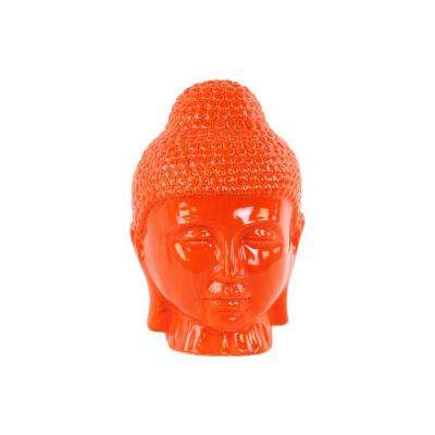 11 in. H Buddha Decorative Sculpture in Orange Gloss Finish