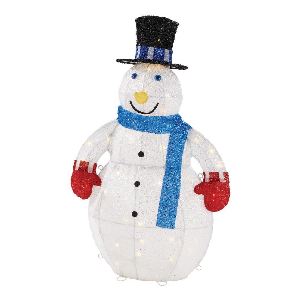 3 ft. Yuletide Lane LED Light Up Outdoor Tinsel Snowman