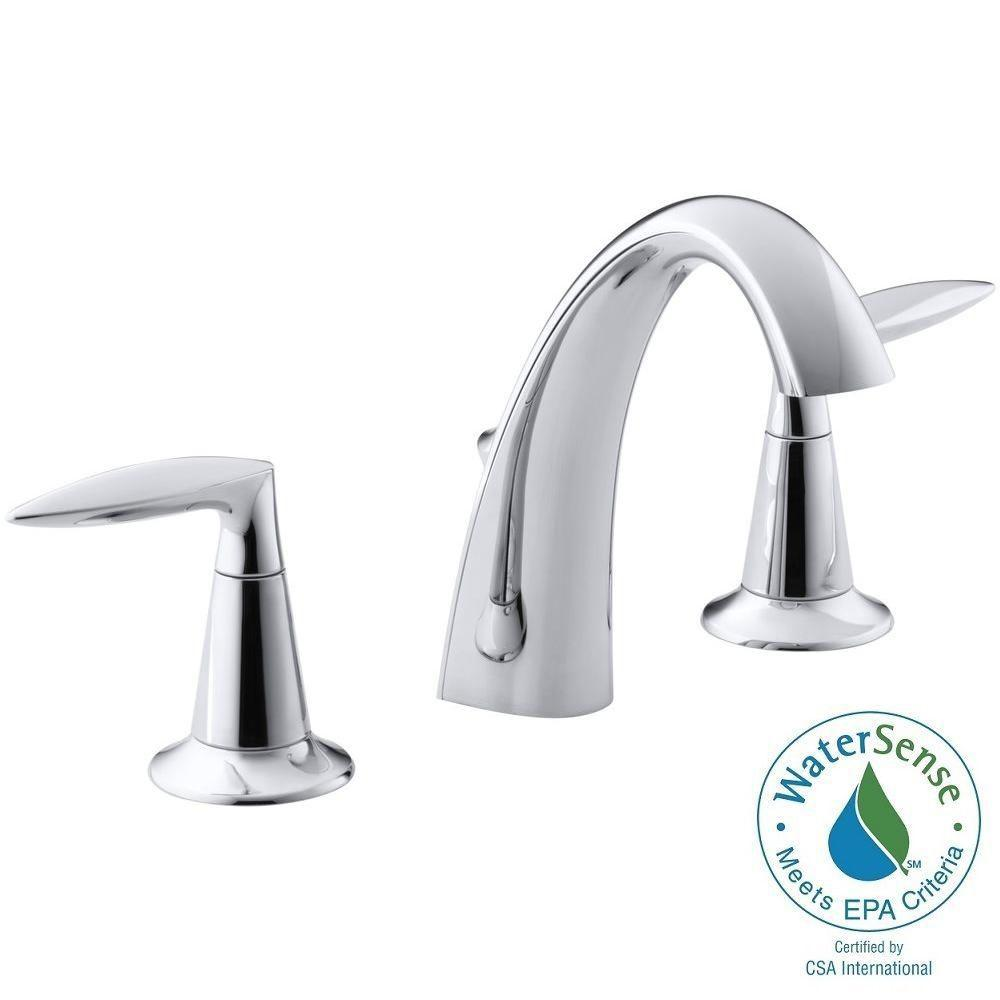 KOHLER Alteo 8 in. Widespread 2-Handle Mid-Arc Water-Saving Bathroom Faucet in Polished Chrome