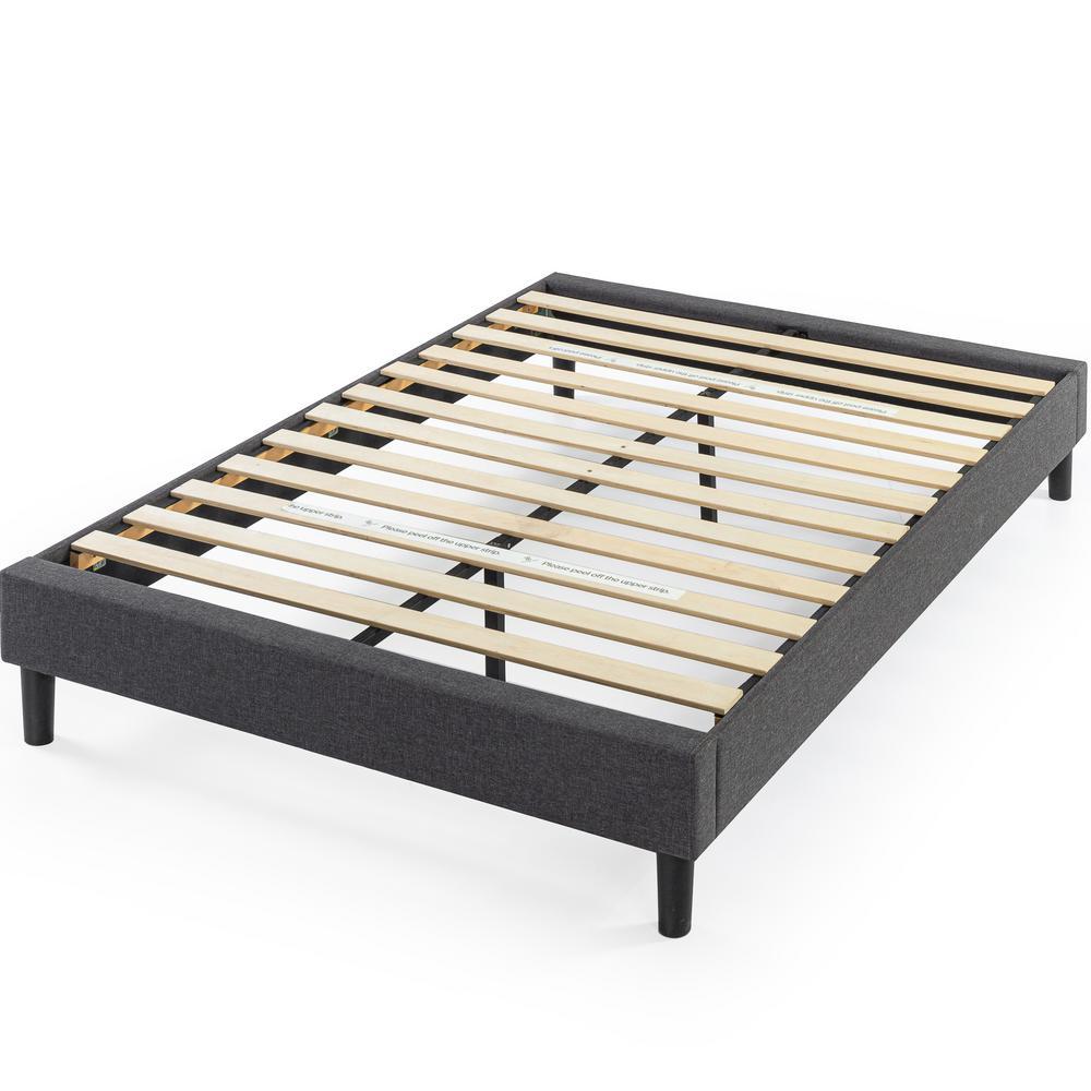 Zinus Curtis Grey Queen Upholstered, Upholstered Platform Bed Queen