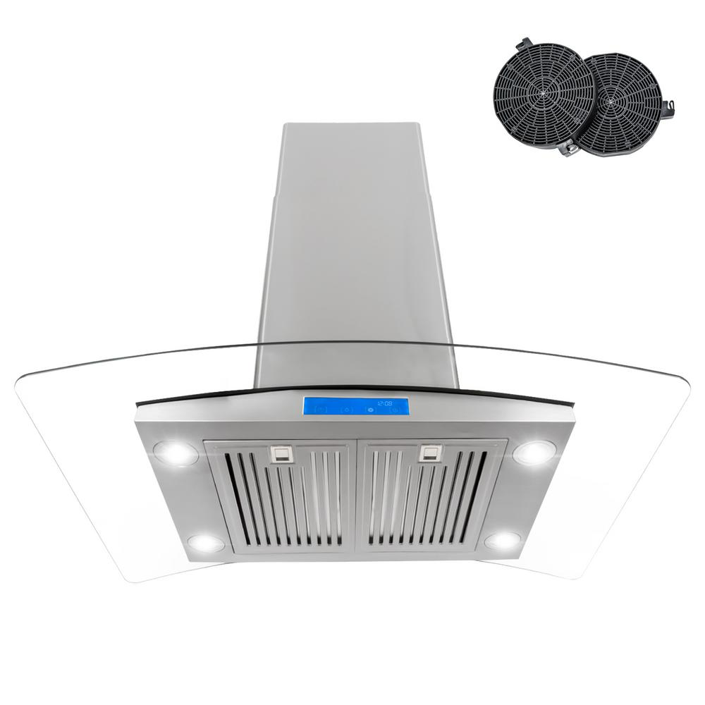 cosmo 36 in ductless island range hood in stainless steel with led lighting and carbon filter. Black Bedroom Furniture Sets. Home Design Ideas