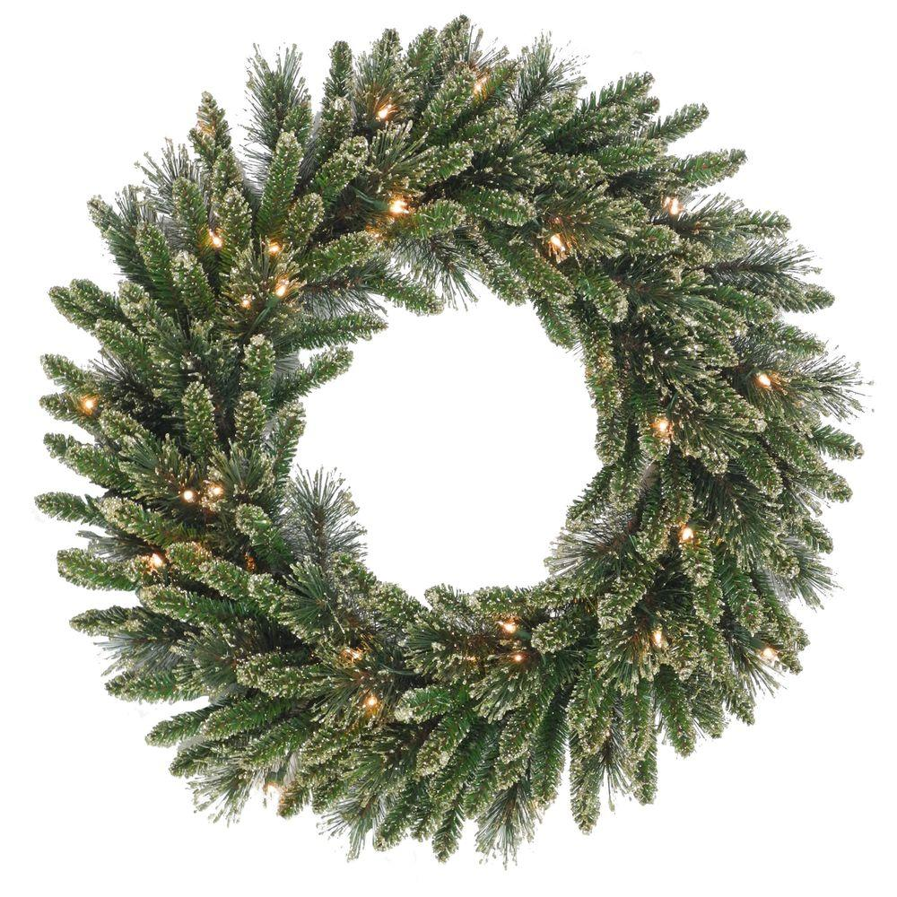 Martha Stewart Living 30 in. Glittery Gold Artificial Wreath with 50 Clear Lights