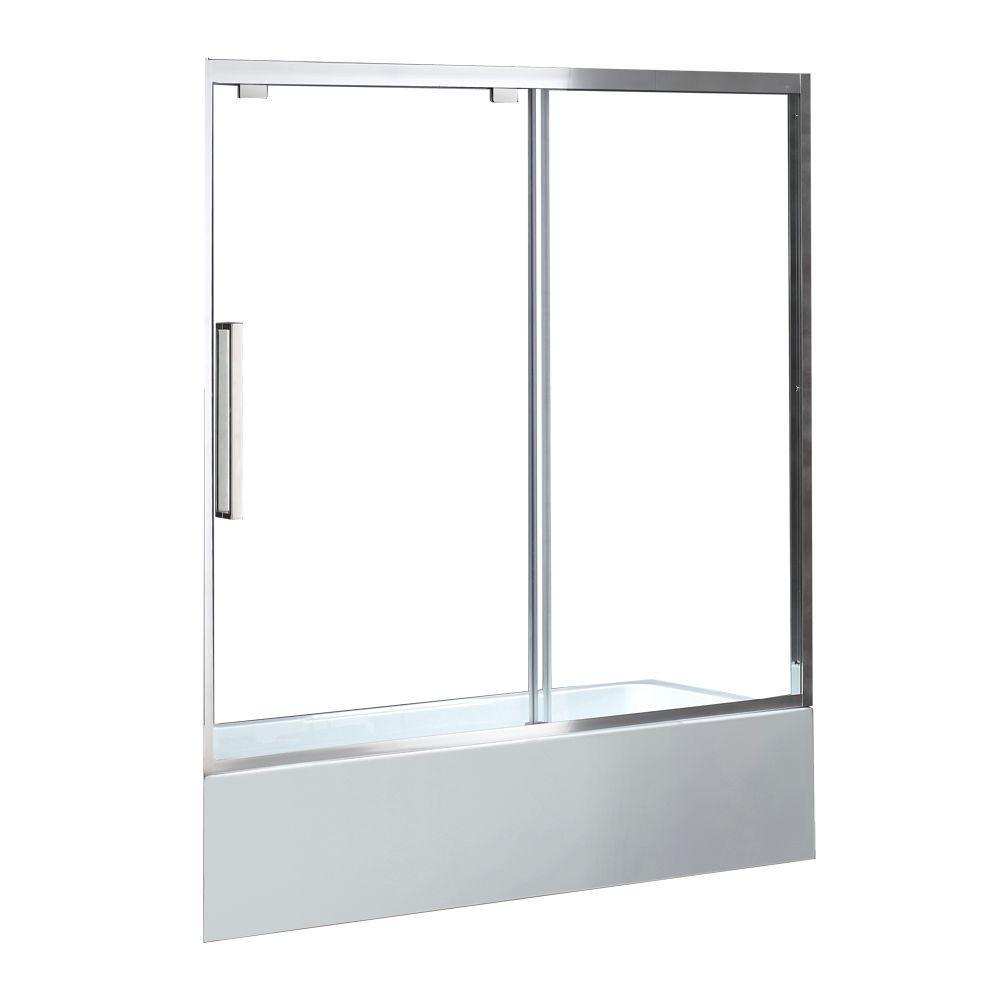 Atlanta 60 in. x 59.06 in. Framed Sliding Tub Door in Chrome with Handle