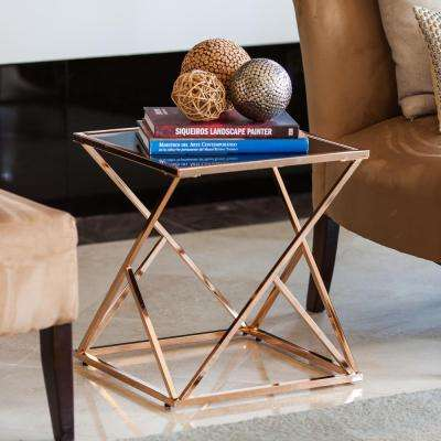 Square Rose Gold End Table with Black Glasstop