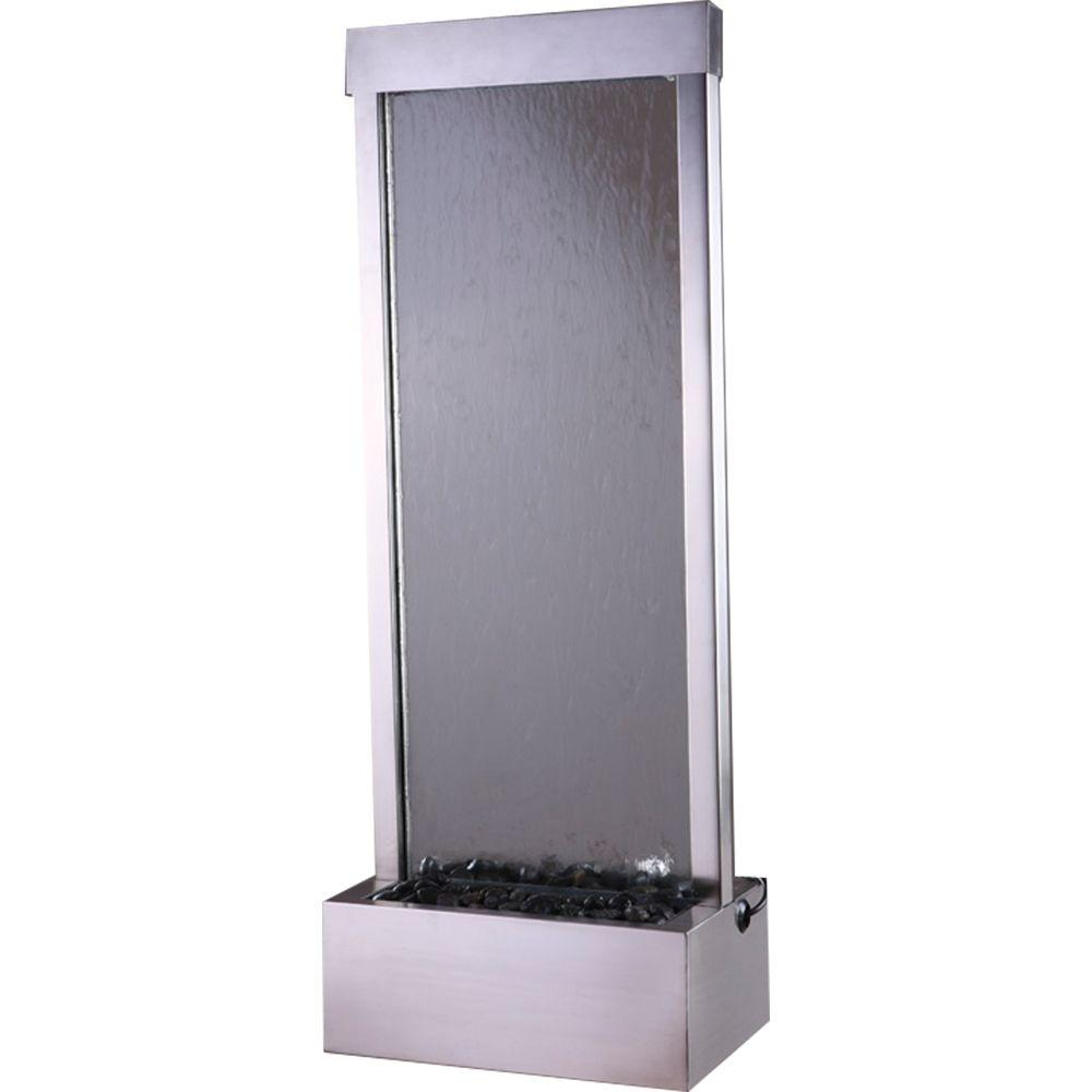 48 in. Floor Fountain with Clear Glass and Brushed Stainless Steel