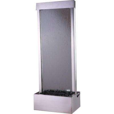 48 in. Floor Fountain with Clear Glass and Brushed Stainless Steel Frame
