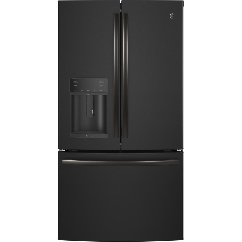 GE Adora 27.8 cu. ft. French Door Refrigerator with Hands Free Autofill in Black Slate, Fingerprint Resistant