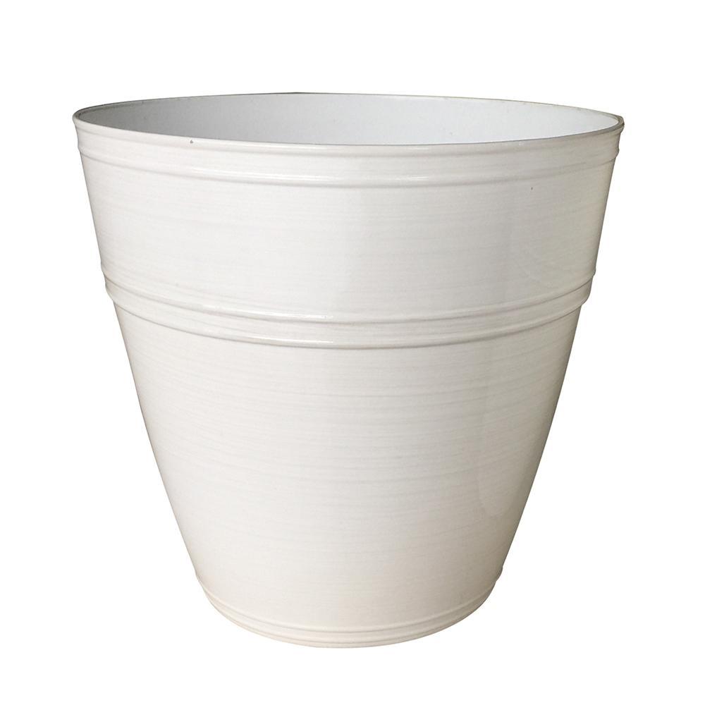 Rosemary 12.1 in. dia. Chalk Resin Planter Fits 12in. Drop N'Bloom