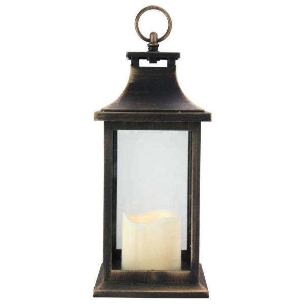 Northlight 12.5 in. Gold Brushed Black Candle Lantern with Flameless LED