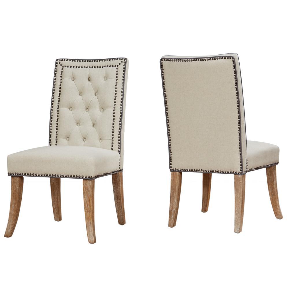 Good TOV Furniture Garrett Beige Linen Dining Chair (Set Of 2)