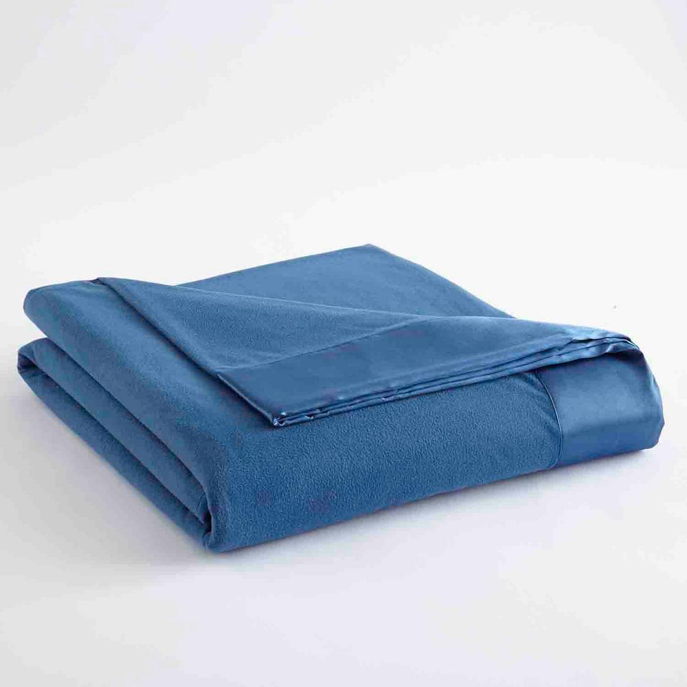 MicroFlannel Micro Flannel All Seasons Lightweight Smokey Mountain Blue Solid Twin Flat Sheet