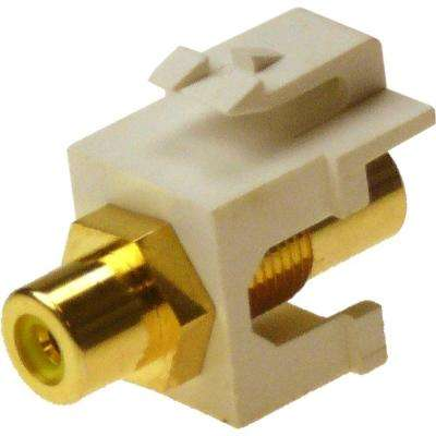 RCA Yellow F/F Feed-Through Snap-In Keystone Jack Insert - White