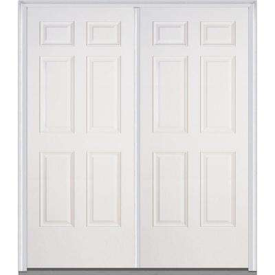 72 in. x 80 in. Classic Left-Hand Inswing 6-Panel Painted Fiberglass Smooth Prehung Front Door with Brickmould