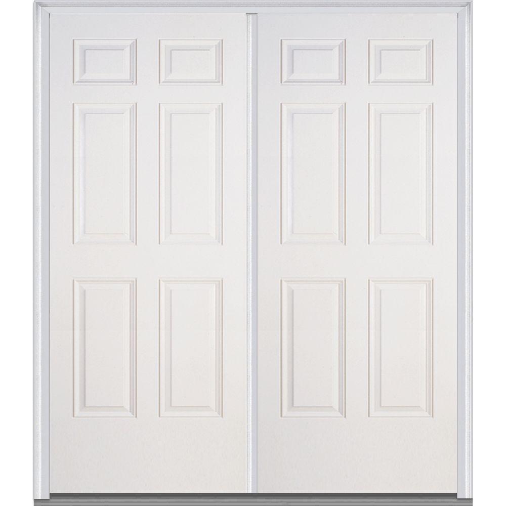 Mmi door 72 in x 80 in right hand inswing 6 panel for 6 panel glass exterior door