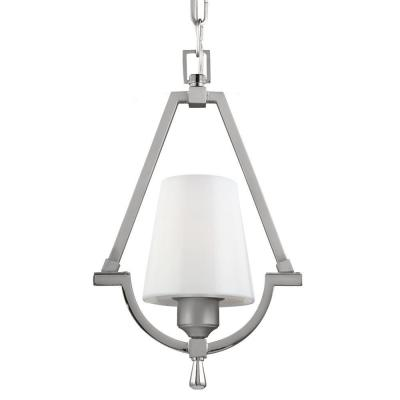 Feiss Preakness 9.25 in. W. 1-Light Satin Nickel/Polished Nickel Wall Sconce