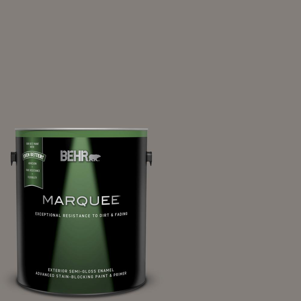 Behr Marquee 1 Gal Ppu18 17 Suede Gray Semi Gloss Enamel Exterior Paint And Primer In One 545301 The Home Depot