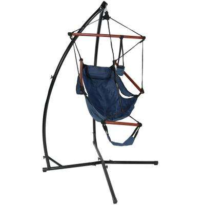 3.75 ft. Hanging Hammock Chair with Pillow, Drink Holder and X-Stand Set in Blue