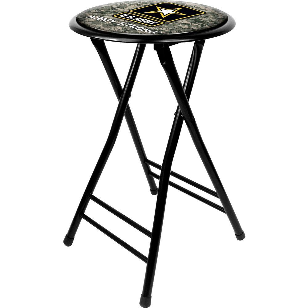 Trademark U.S. Army Digital Camo 24 in. Black Cushioned Folding Bar Stool