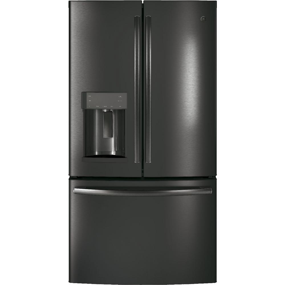 GE 36 inch W 22.2 cu. ft. Counter Depth French Door Refrigerator in Black Stainless Steel, Fingerprint Resistant by GE
