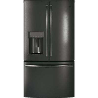 36 in. W 22.2 cu. ft. Counter Depth French Door Refrigerator in Black Stainless Steel, Fingerprint Resistant