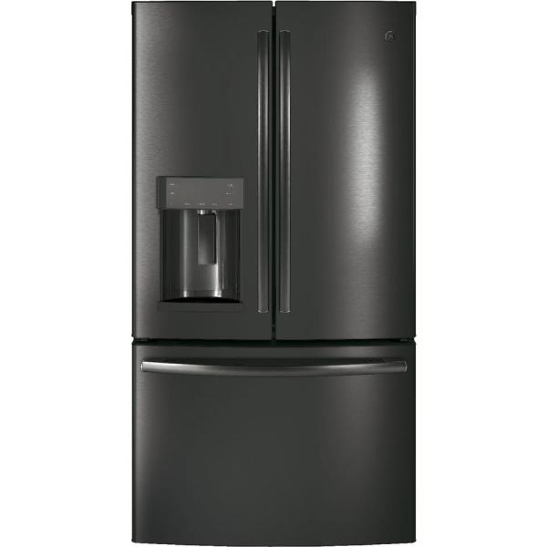GE 22.2 cu. ft. French Door Refrigerator in Black Stainless Steel, Counter Depth, Fingerprint Resistant and ENERGY STAR