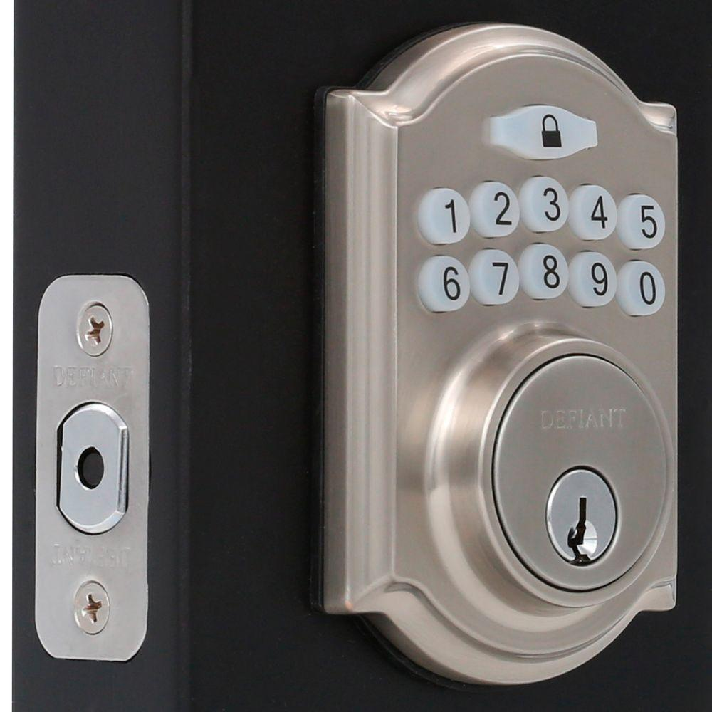 defiant single cylinder satin nickel castle electronic keypad deadbolt g7x2d01aa the home depot. Black Bedroom Furniture Sets. Home Design Ideas