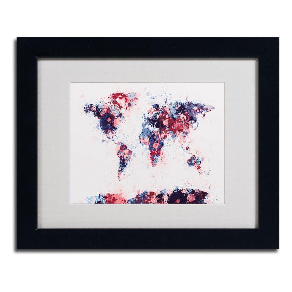 Trademark Fine Art 11 in. x 14 in. Paint Splashes World Map 3 Matted Framed Art