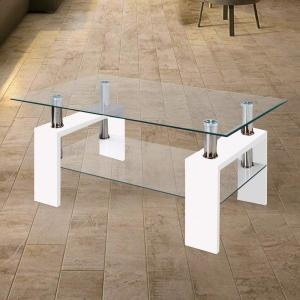 Modern Glass White Coffee Table With Shelf Contemporary Living Room