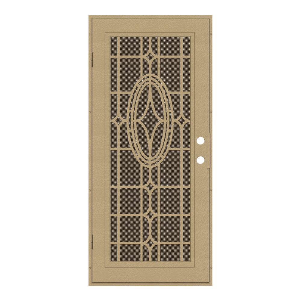 Unique Home Designs 36 in. x 80 in. Modern Cross Desert Sand Left-Hand Surface Mount Aluminum Security Door with Brown Perforated Screen